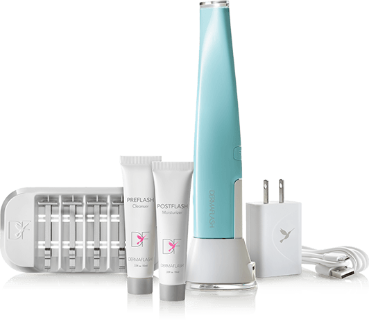 Entire Dermaflash kit, including device, replacement blades, charger and Prep and Soothe tubes